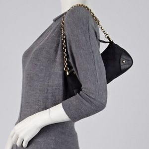 Gucci Black Canvas and Leather Studded Pochette